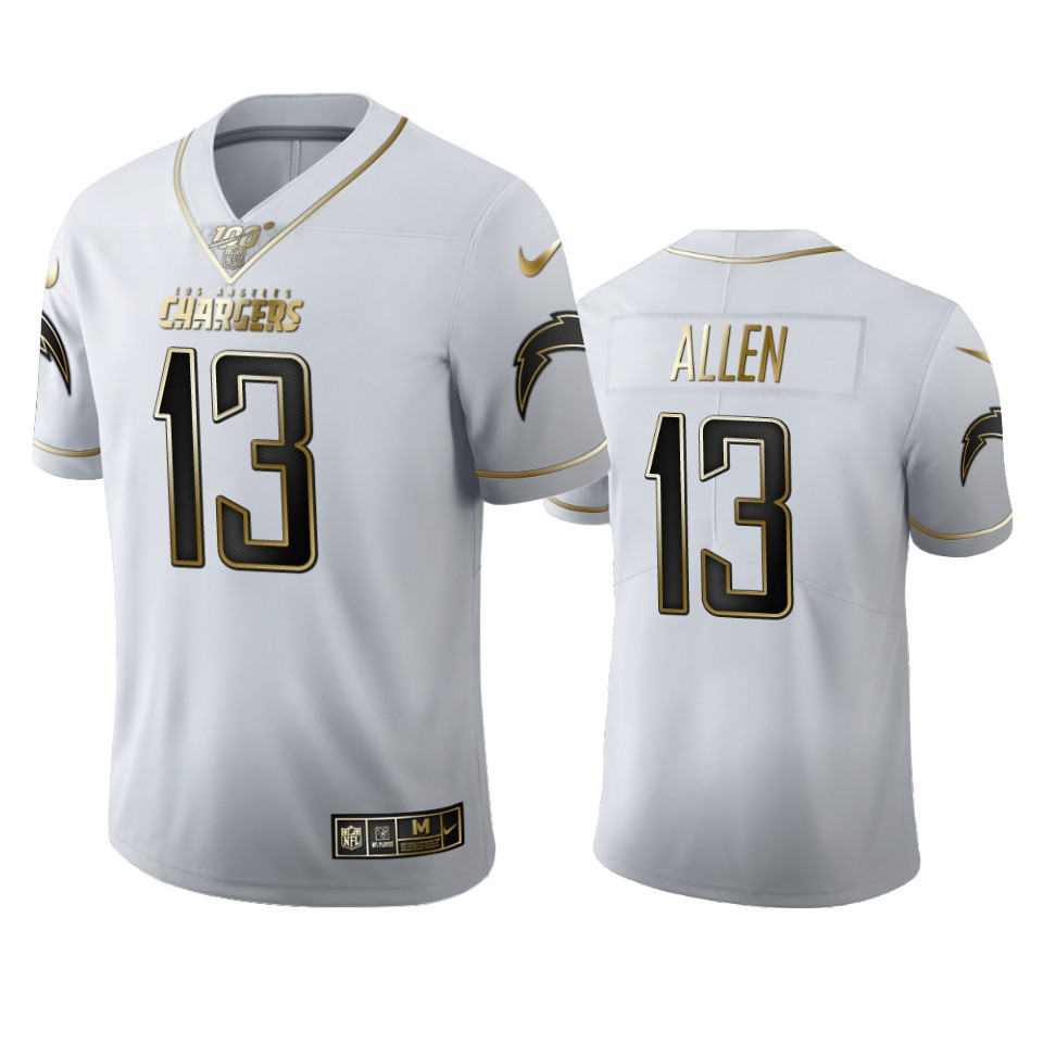 Los Angeles Chargers #13 Keenan Allen Men's Nike White Golden Edition Vapor Limited NFL 100 Jersey