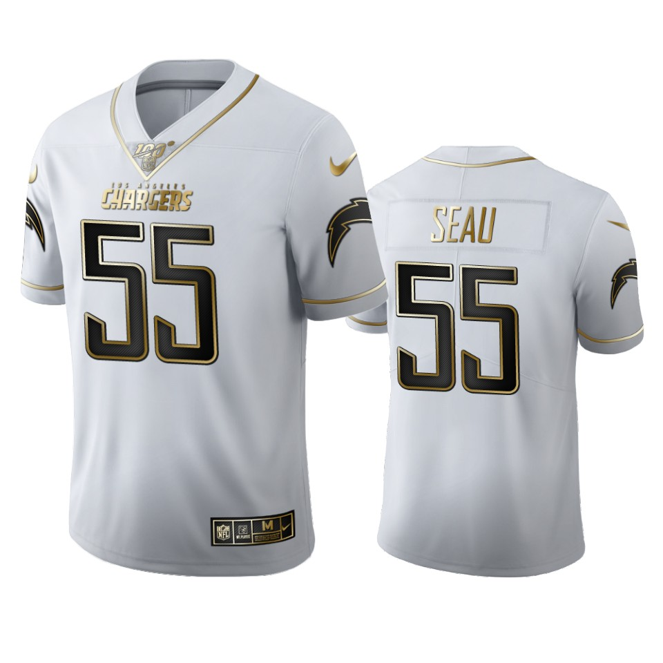 Los Angeles Chargers #55 Junior Seau Men's Nike White Golden Edition Vapor Limited NFL 100 Jersey