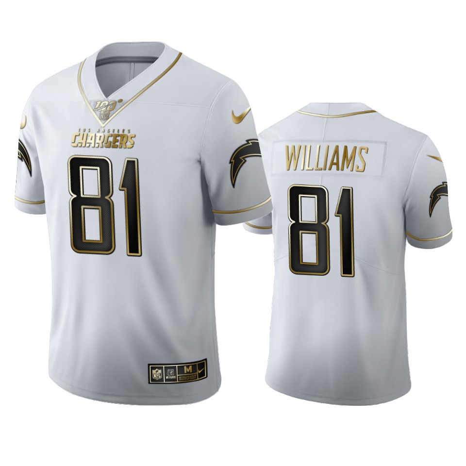 Los Angeles Chargers #81 Mike Williams Men's Nike White Golden Edition Vapor Limited NFL 100 Jersey