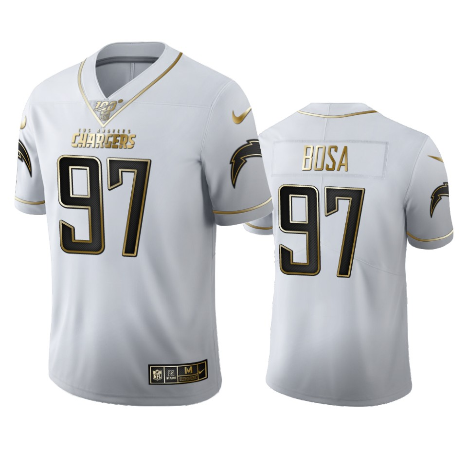 Los Angeles Chargers #97 Joey Bosa Men's Nike White Golden Edition Vapor Limited NFL 100 Jersey