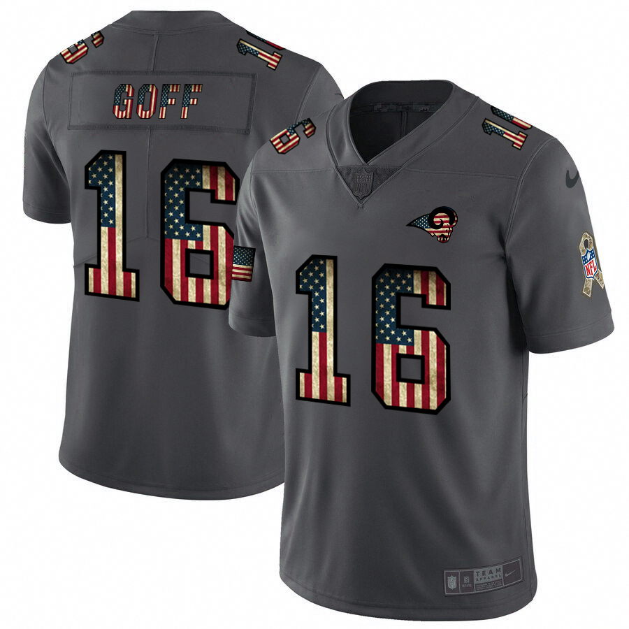 Los Angeles Rams #16 Jared Goff Nike 2018 Salute to Service Retro USA Flag Limited NFL Jersey