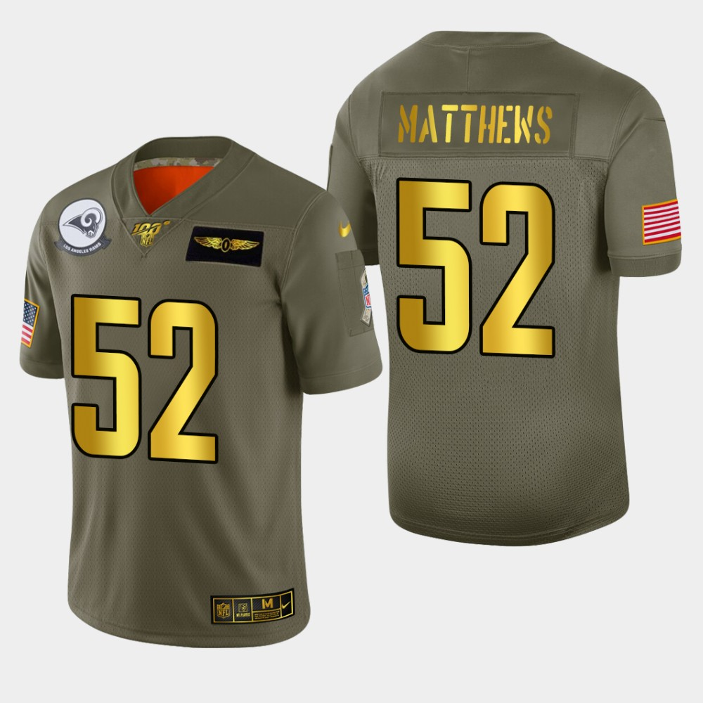 Nike Rams #52 Clay Matthews Men's Olive Gold 2019 Salute to Service NFL 100 Limited Jersey