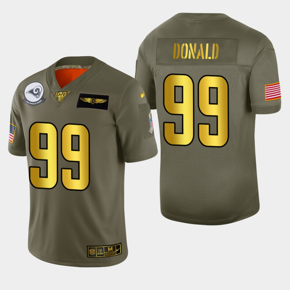 Nike Rams #99 Aaron Donald Men's Olive Gold 2019 Salute to Service NFL 100 Limited Jersey