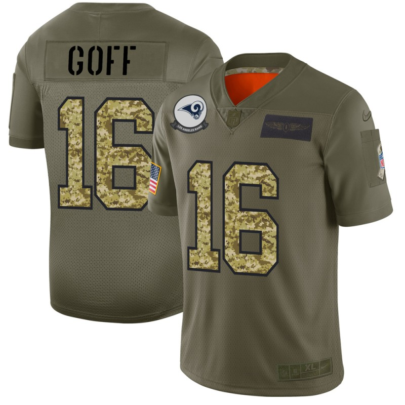 Los Angeles Rams #16 Jared Goff Men's Nike 2019 Olive Camo Salute To Service Limited NFL Jersey
