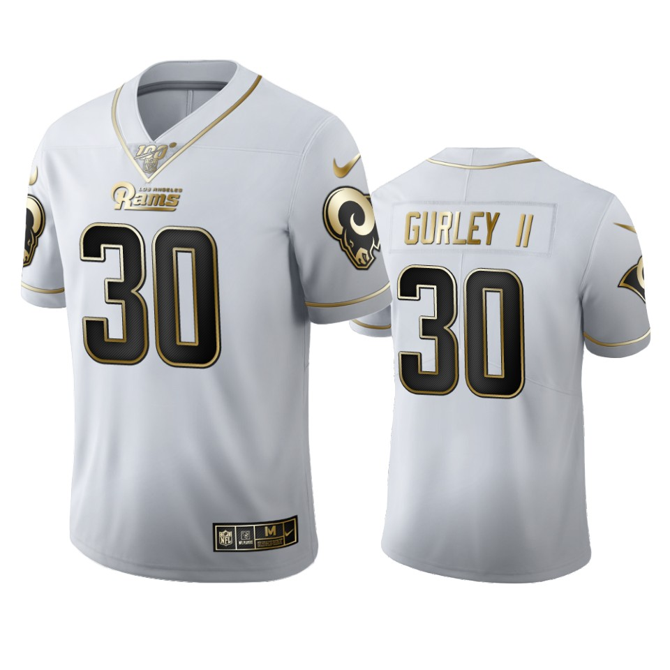 Los Angeles Rams #30 Todd Gurley II Men's Nike White Golden Edition Vapor Limited NFL 100 Jersey