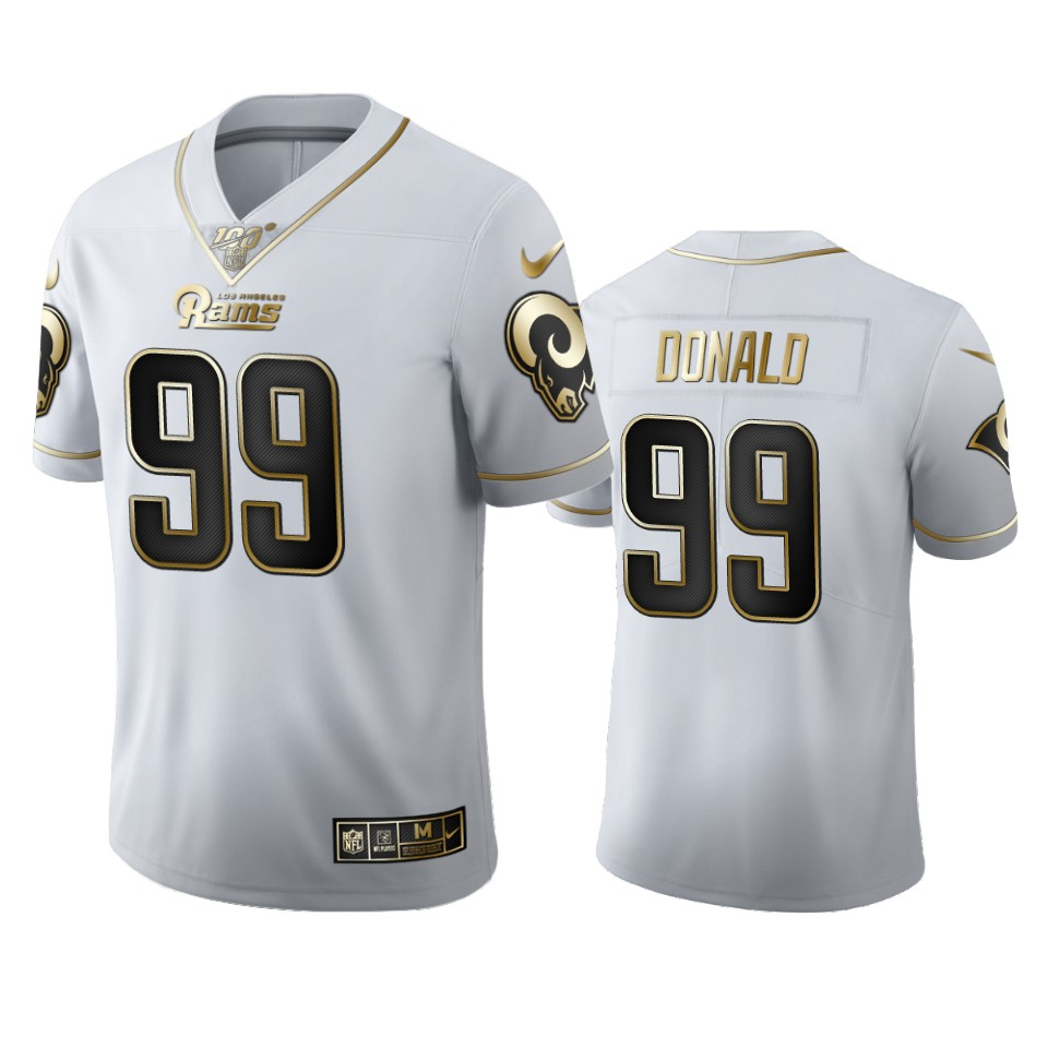 Los Angeles Rams #99 Aaron Donald Men's Nike White Golden Edition Vapor Limited NFL 100 Jersey