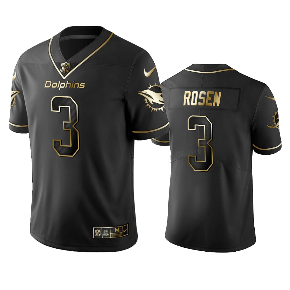 Dolphins #3 Josh Rosen Men's Stitched NFL Vapor Untouchable Limited Black Golden Jersey