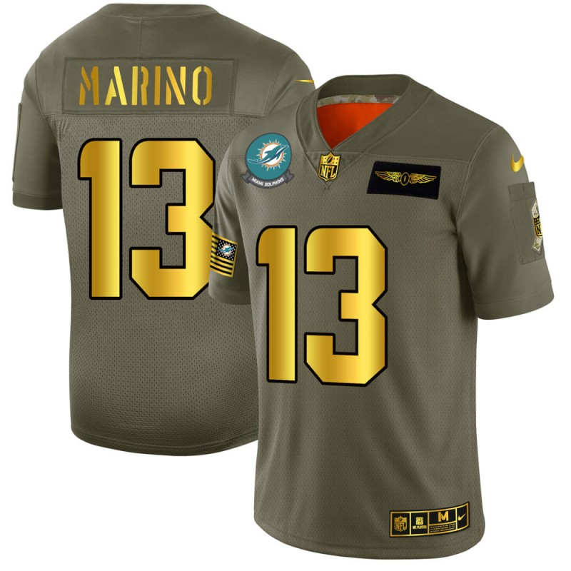 Miami Dolphins #13 Dan Marino NFL Men's Nike Olive Gold 2019 Salute to Service Limited Jersey