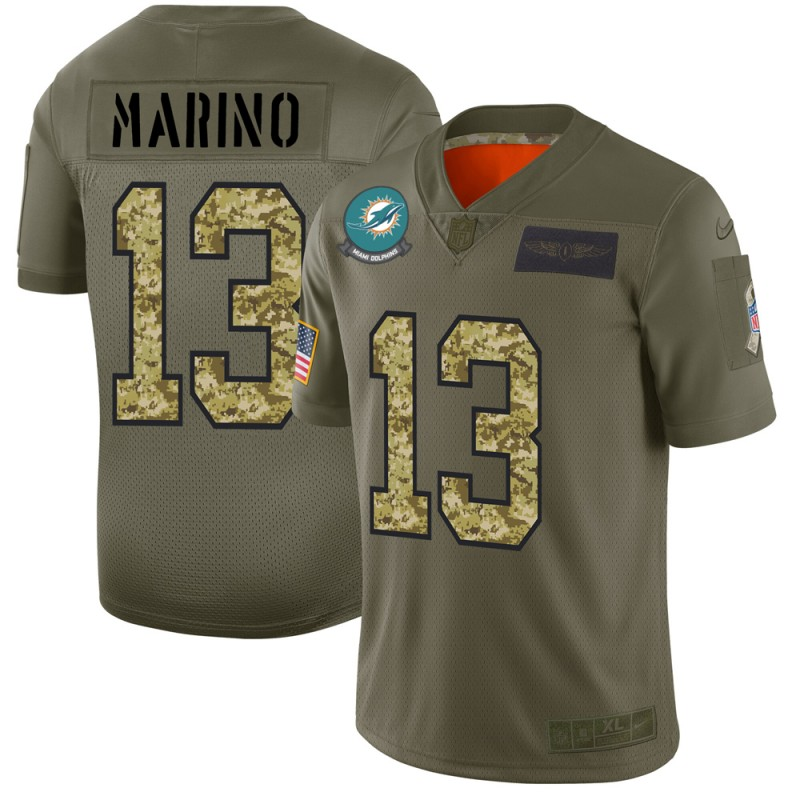 Miami Dolphins #13 Dan Marino Men's Nike 2019 Olive Camo Salute To Service Limited NFL Jersey