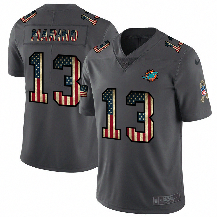 Nike Dolphins #13 Dan Marino 2018 Salute To Service Retro USA Flag Limited NFL Jersey