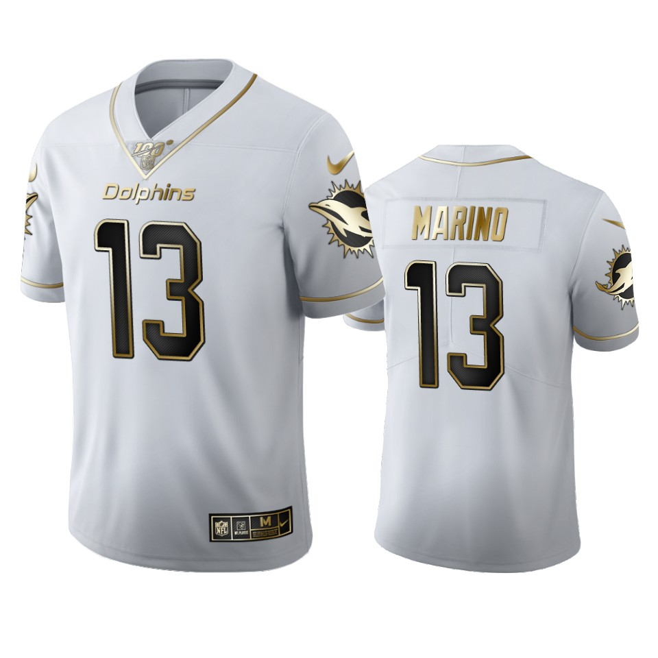 Miami Dolphins #13 Dan Marino Men's Nike White Golden Edition Vapor Limited NFL 100 Jersey