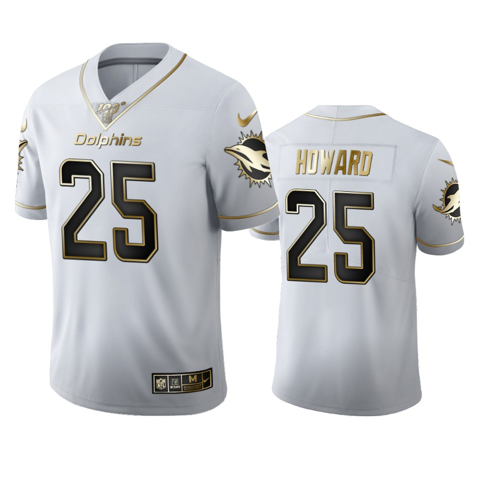 Miami Dolphins #25 Xavien Howard Men's Nike White Golden Edition Vapor Limited NFL 100 Jersey