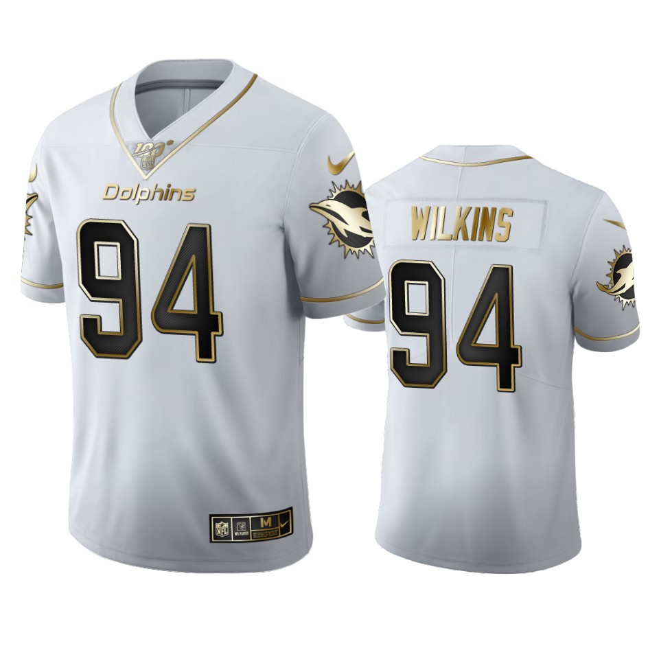 Miami Dolphins #94 Christian Wilkins Men's Nike White Golden Edition Vapor Limited NFL 100 Jersey