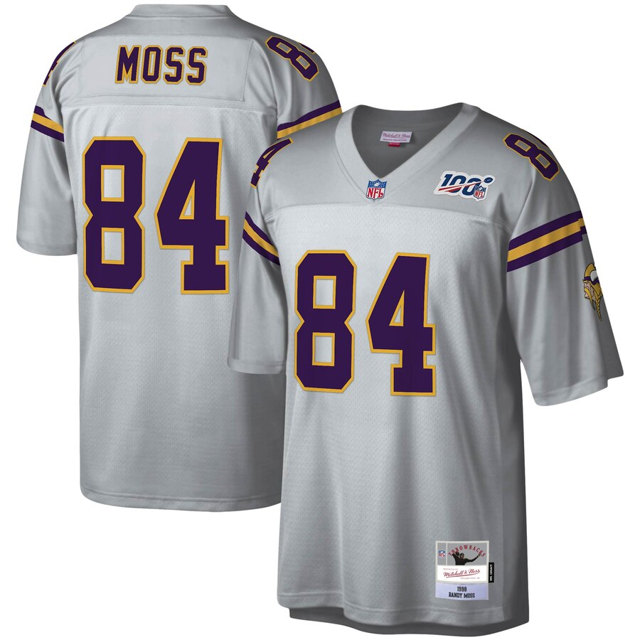 Minnesota Vikings #84 Randy Moss Mitchell & Ness NFL 100 Retired Player Platinum Jersey