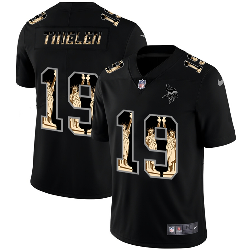Minnesota Vikings #19 Adam Thielen Carbon Black Vapor Statue Of Liberty Limited NFL Jersey