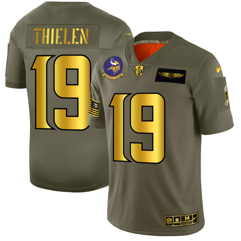 Minnesota Vikings #19 Adam Thielen NFL Men's Nike Olive Gold 2019 Salute to Service Limited Jersey