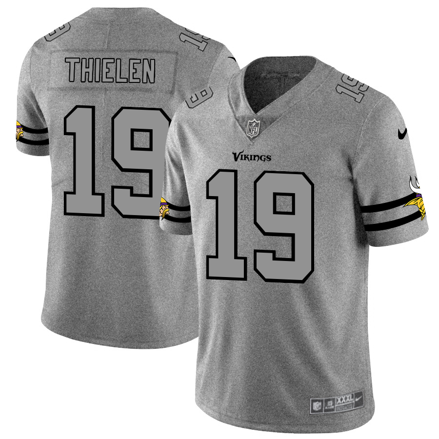 Minnesota Vikings #19 Adam Thielen Men's Nike Gray Gridiron II Vapor Untouchable Limited NFL Jersey