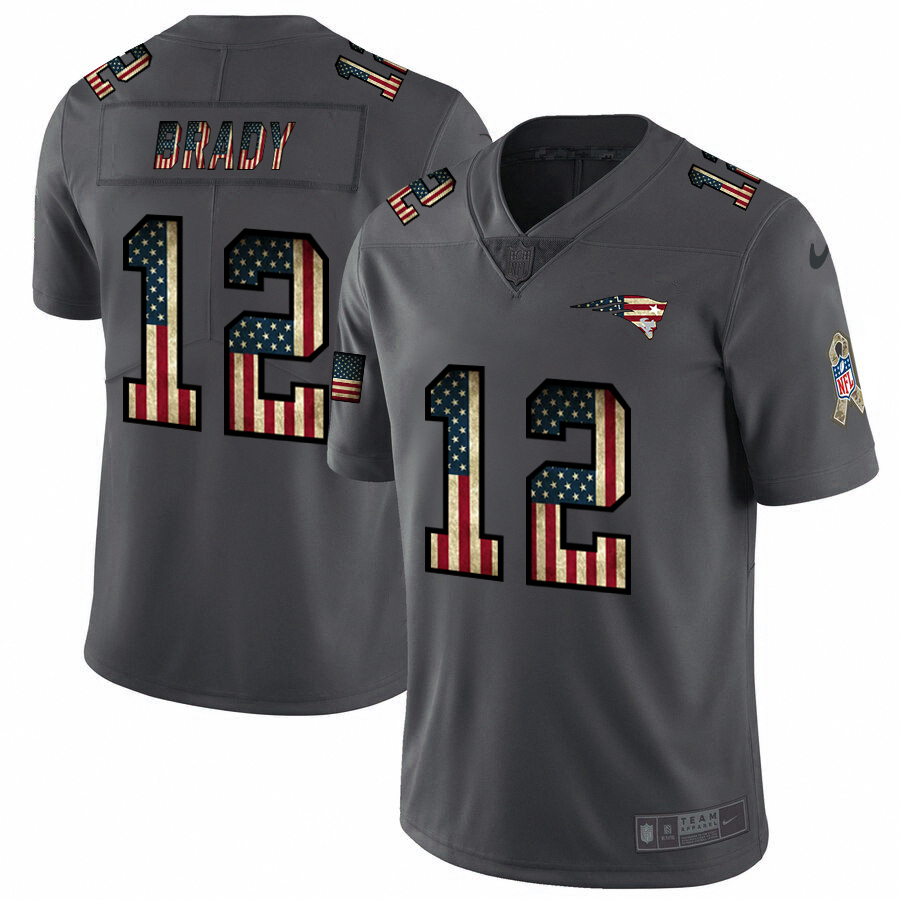 New England Patriots #12 Tom Brady Nike 2018 Salute to Service Retro USA Flag Limited NFL Jersey
