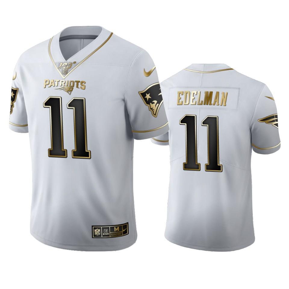 New England Patriots #11 Julian Edelman Men's Nike White Golden Edition Vapor Limited NFL 100 Jersey