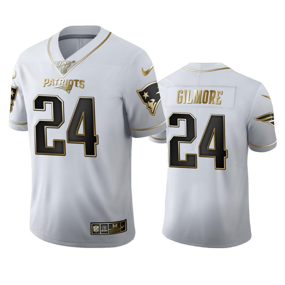 New England Patriots #24 Stephon Gilmore Men's Nike White Golden Edition Vapor Limited NFL 100 Jersey