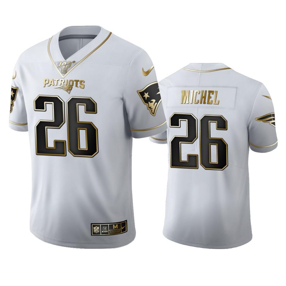 New England Patriots #26 Sony Michel Men's Nike White Golden Edition Vapor Limited NFL 100 Jersey