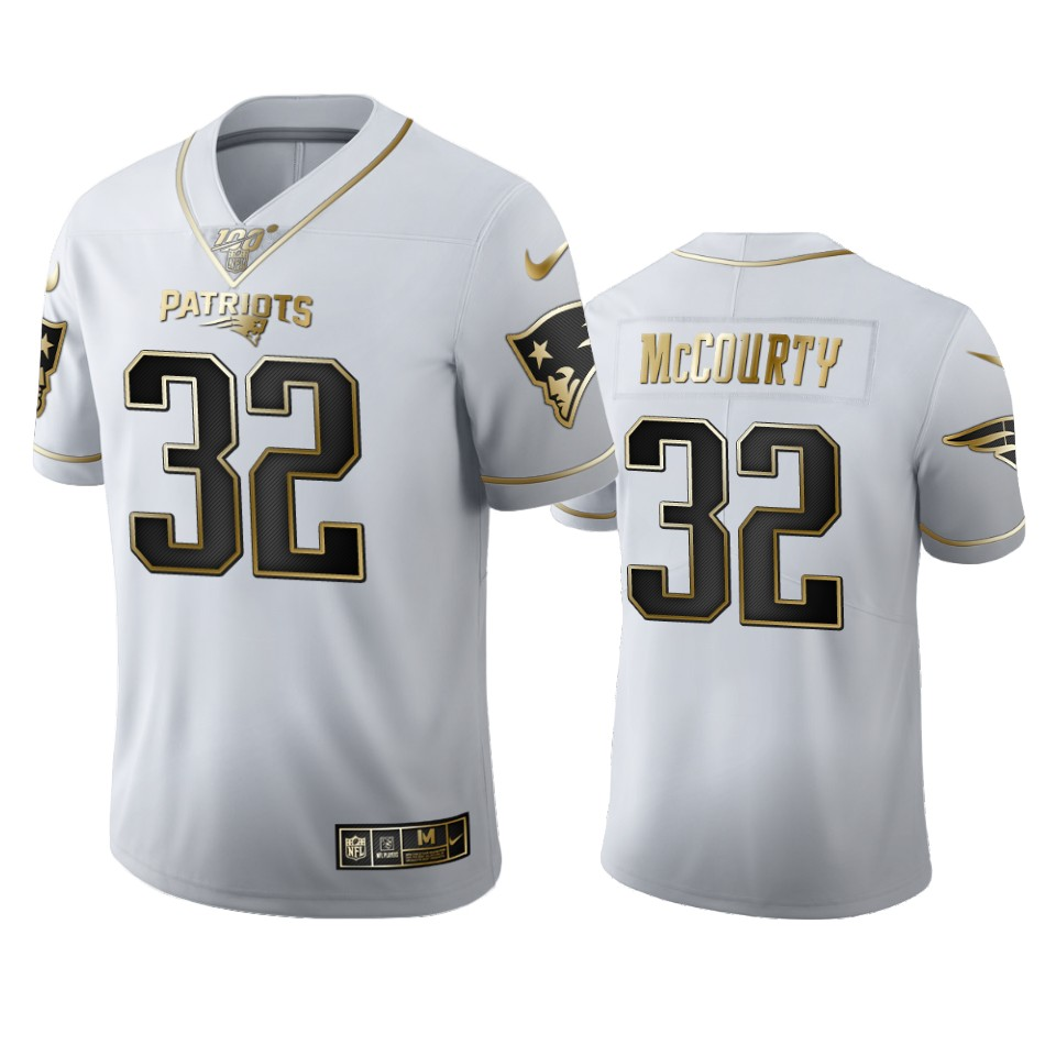 New England Patriots #32 Devin Mccourty Men's Nike White Golden Edition Vapor Limited NFL 100 Jersey