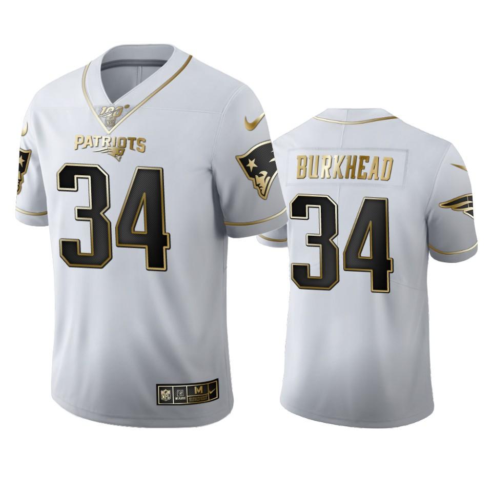 New England Patriots #34 Rex Burkhead Men's Nike White Golden Edition Vapor Limited NFL 100 Jersey