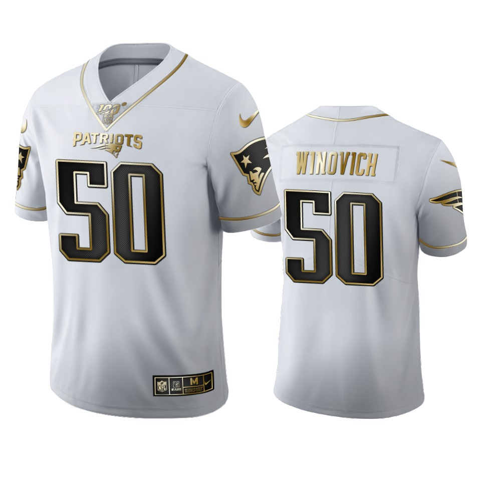 New England Patriots #50 Chase Winovich Men's Nike White Golden Edition Vapor Limited NFL 100 Jersey
