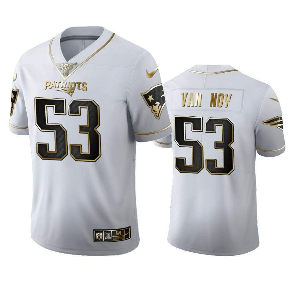 New England Patriots #53 Kyle Van Noy Men's Nike White Golden Edition Vapor Limited NFL 100 Jersey