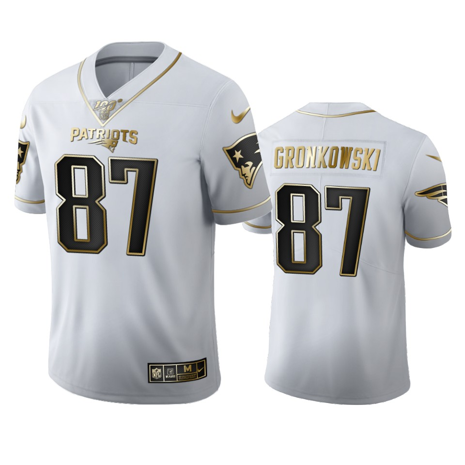New England Patriots #87 Rob Gronkowski Men's Nike White Golden Edition Vapor Limited NFL 100 Jersey