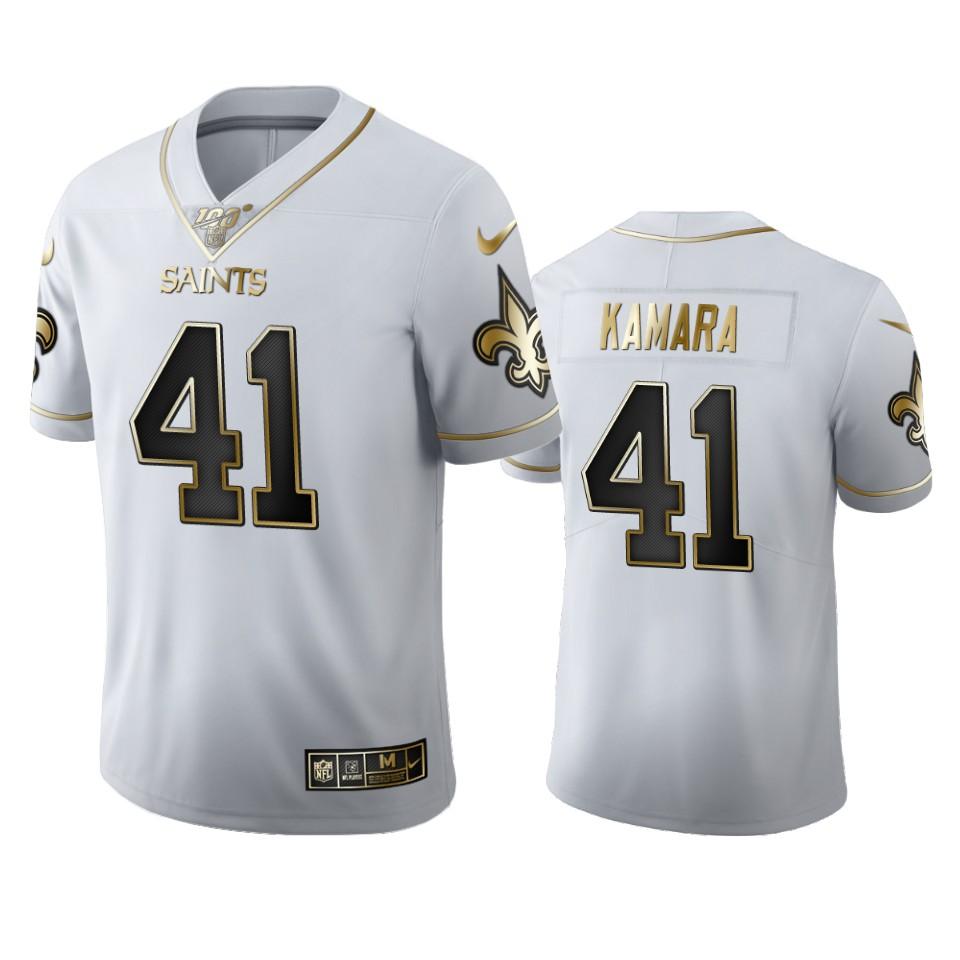 New Orleans Saints #41 Alvin Kamara Men's Nike White Golden Edition Vapor Limited NFL 100 Jersey