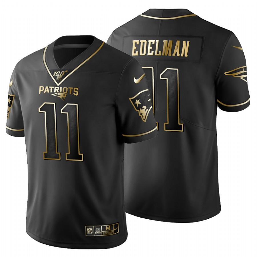 New England Patriots #11 Julian Edelman Men's Nike Black Golden Limited NFL 100 Jersey