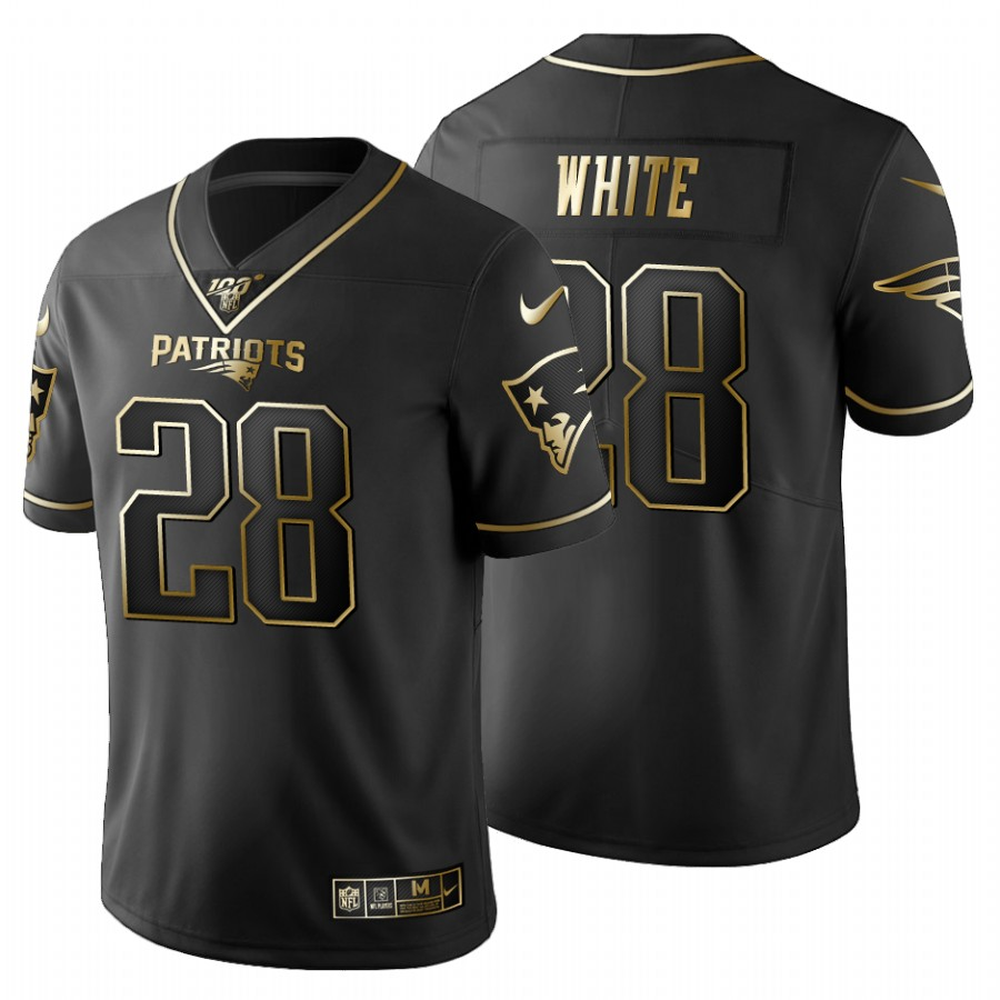 New England Patriots #28 James White Men's Nike Black Golden Limited NFL 100 Jersey