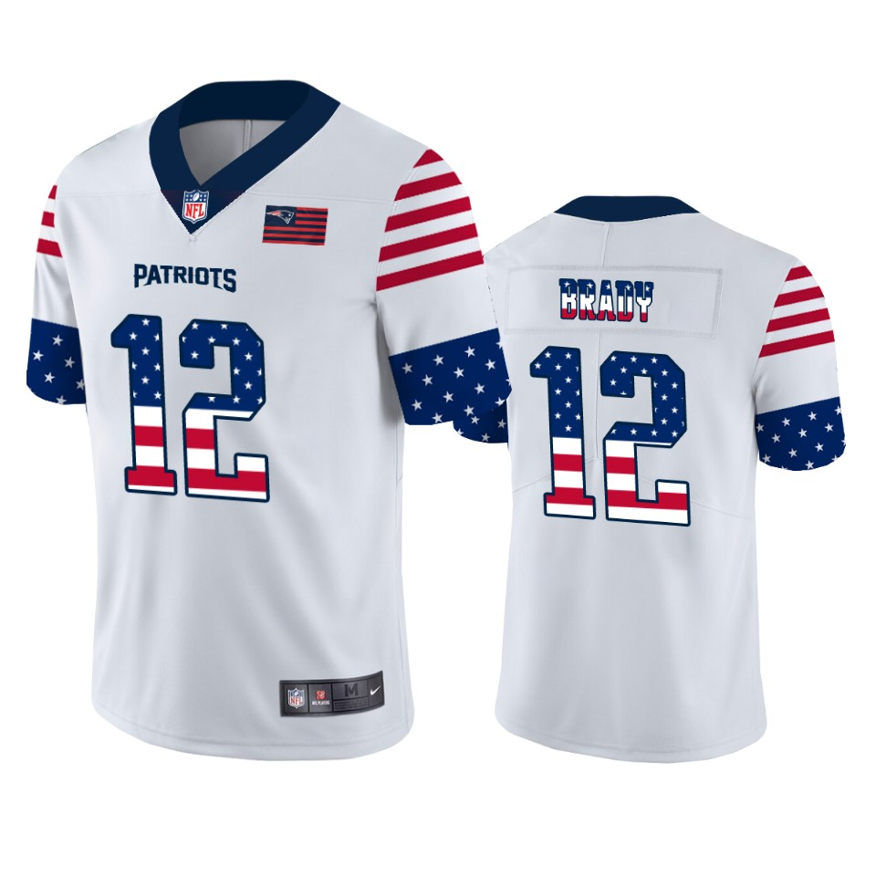 New England Patriots #12 Tom Brady White Men's Nike Team Logo USA Flag Vapor Untouchable Limited NFL Jersey