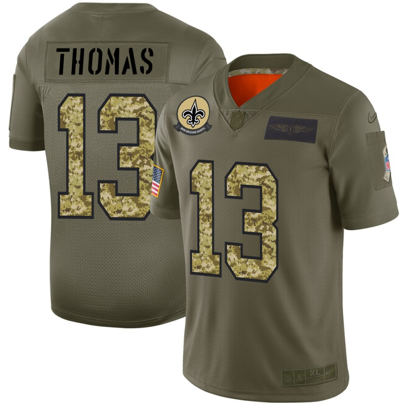 New Orleans Saints #13 Michael Thomas Men's Nike 2019 Olive Camo Salute To Service Limited NFL Jersey