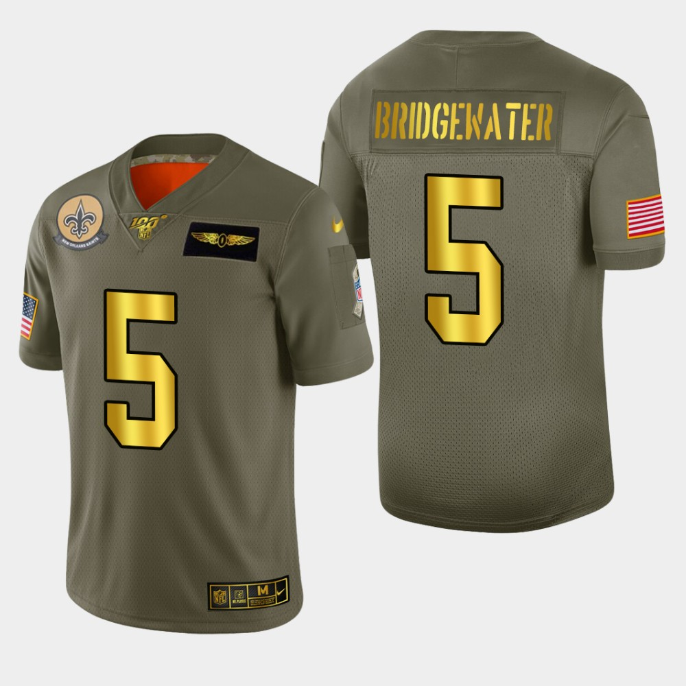New Orleans Saints #5 Teddy Bridgewater Men's Nike Olive Gold 2019 Salute to Service Limited NFL 100 Jersey