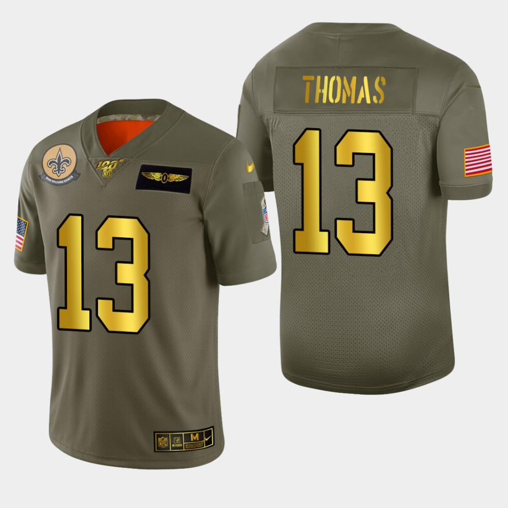 New Orleans Saints #13 Michael Thomas Men's Nike Olive Gold 2019 Salute to Service Limited NFL 100 Jersey