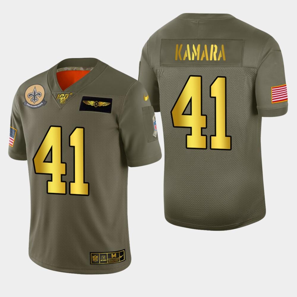 New Orleans Saints #41 Alvin Kamara Men's Nike Olive Gold 2019 Salute to Service Limited NFL 100 Jersey
