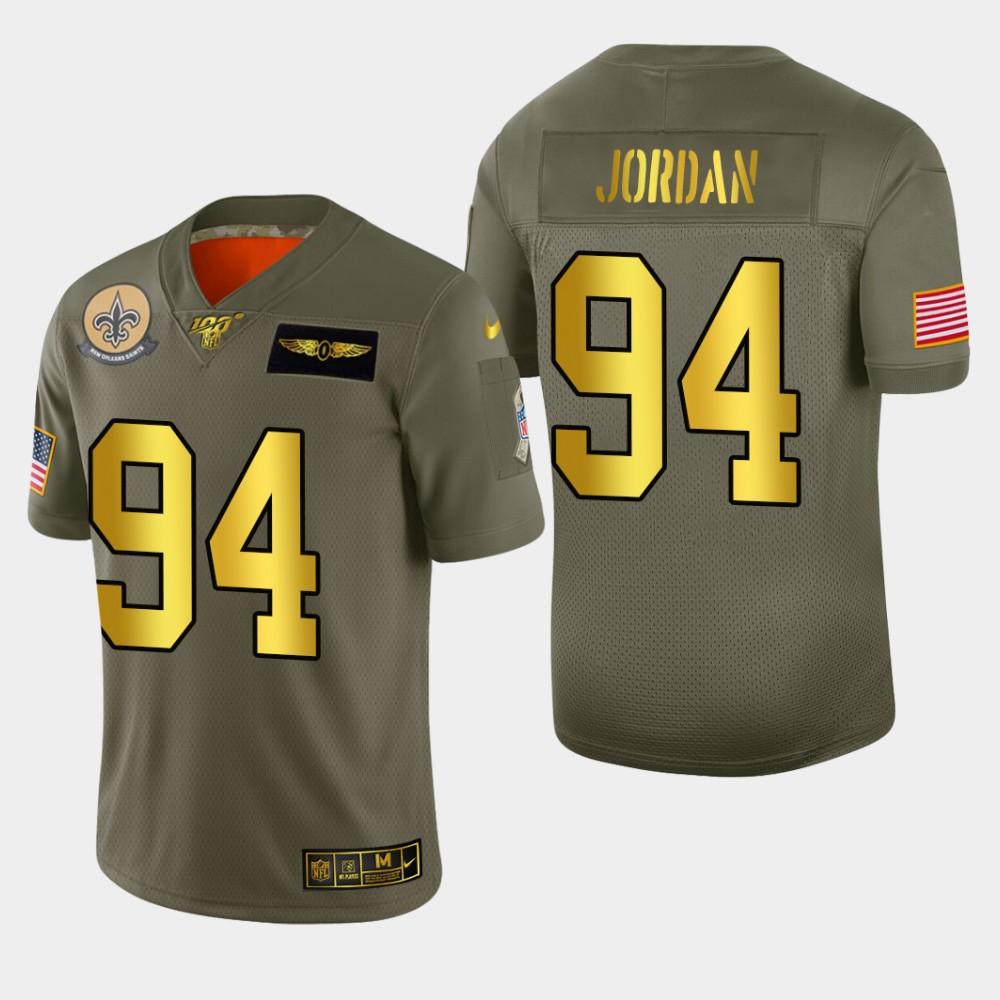 New Orleans Saints #94 Cameron Jordan Men's Nike Olive Gold 2019 Salute to Service Limited NFL 100 Jersey