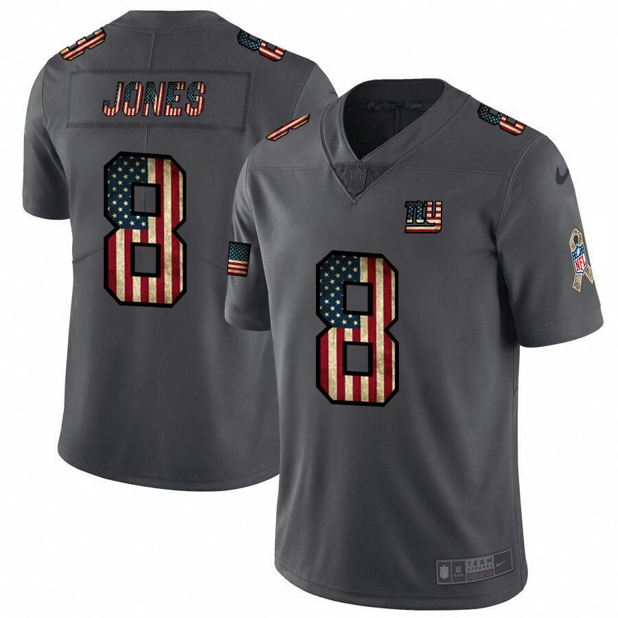 New York Giants #8 Daniel Jones Nike 2018 Salute to Service Retro USA Flag Limited NFL Jersey