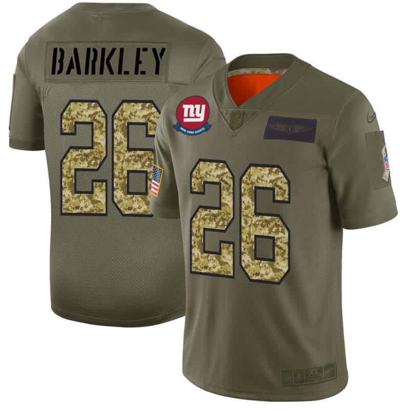 New York Giants #26 Saquon Barkley Men's Nike 2019 Olive Camo Salute To Service Limited NFL Jersey