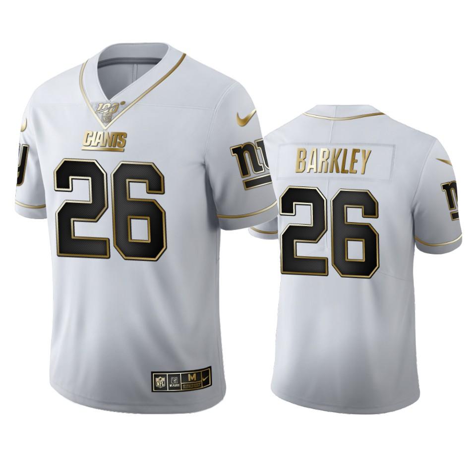 New York Giants #26 Saquon Barkley Men's Nike White Golden Edition Vapor Limited NFL 100 Jersey