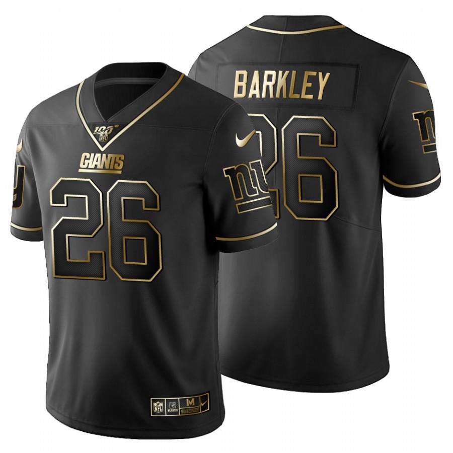 New York Giants #26 Saquon Barkley Men's Nike Black Golden Limited NFL 100 Jersey