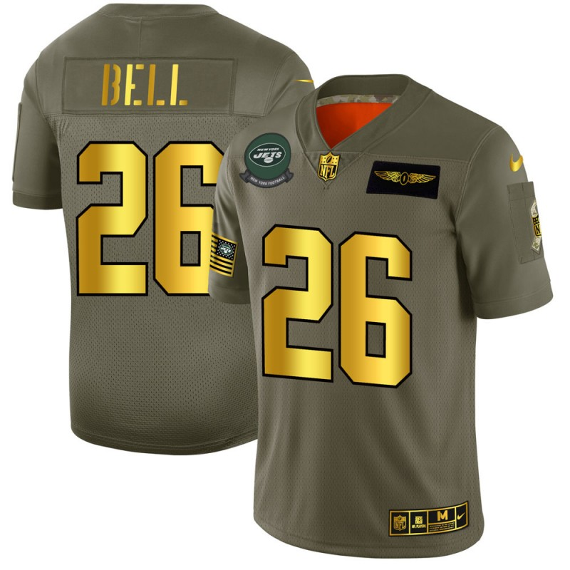 New York Jets #26 Le'Veon Bell NFL Men's Nike Olive Gold 2019 Salute to Service Limited Jersey