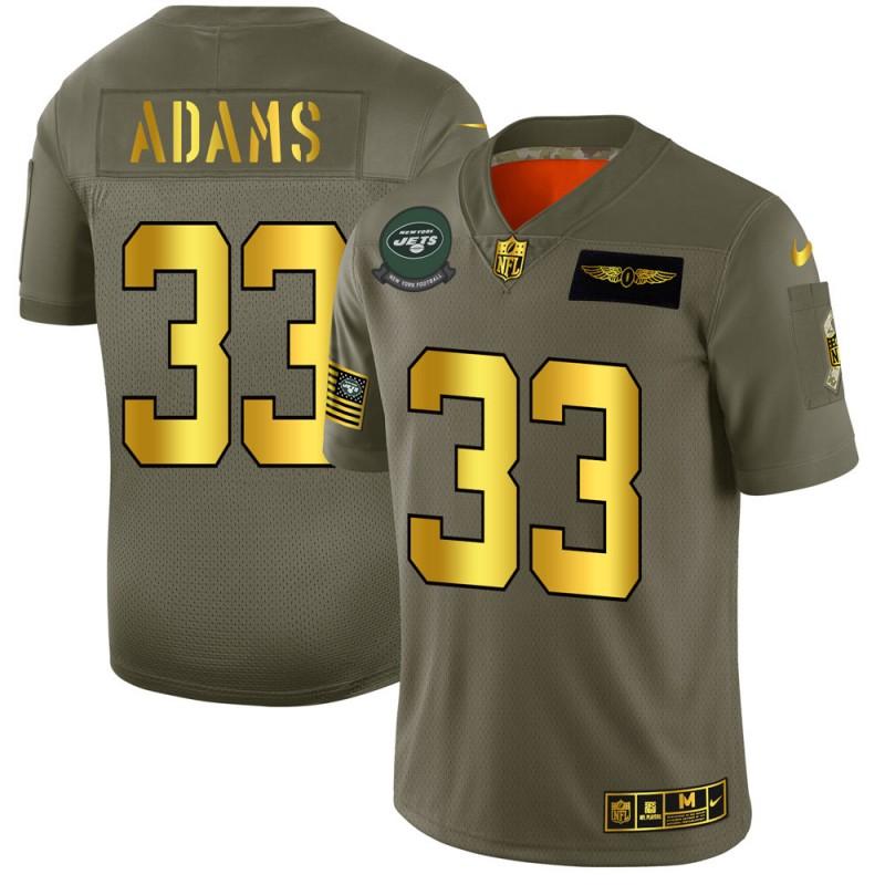 New York Jets #33 Jamal Adams NFL Men's Nike Olive Gold 2019 Salute to Service Limited Jersey