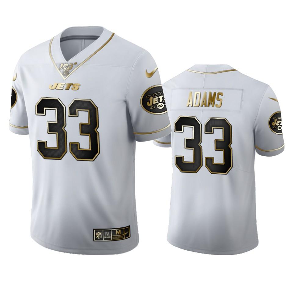 New York Jets #33 Jamal Adams Men's Nike White Golden Edition Vapor Limited NFL 100 Jersey