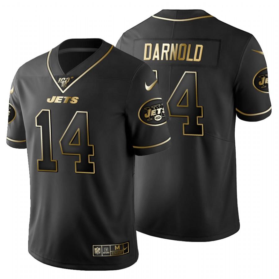New York Jets #14 Sam Darnold Men's Nike Black Golden Limited NFL 100 Jersey