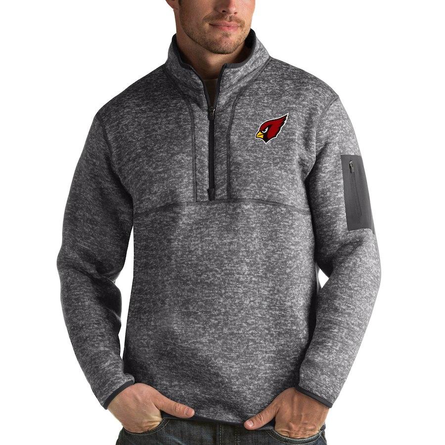 Arizona Cardinals Antigua Fortune Quarter-Zip Pullover Jacket Charcoal