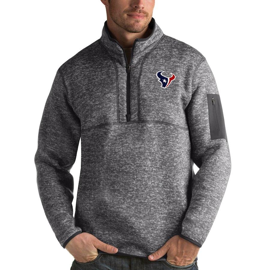 Houston Texans Antigua Fortune Quarter-Zip Pullover Jacket Charcoal