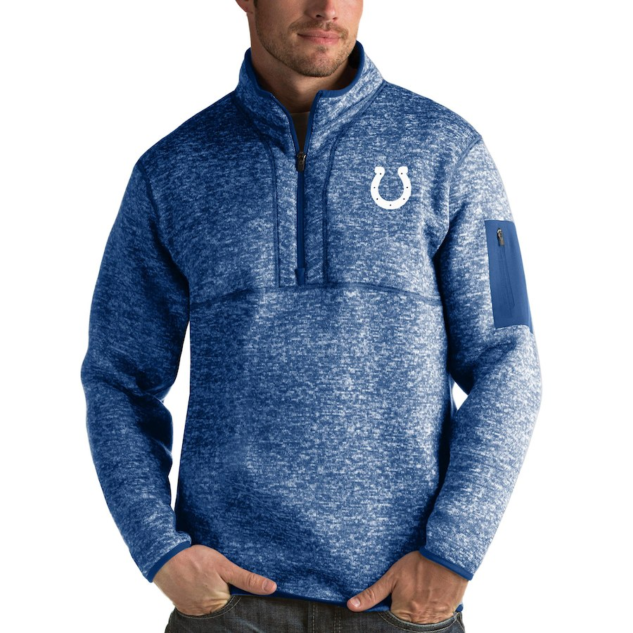Indianapolis Colts Antigua Fortune Quarter-Zip Pullover Jacket Heather Royal